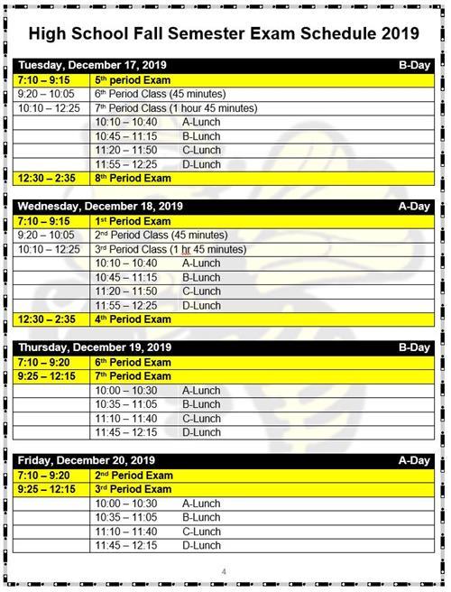 Sjsu Final Exam Schedule Fall 2020.Exam Schedule 2019 Fall Uofa Augustana News Events