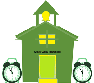 green schoolhouse with a yellow bell and yellow windows and two analog alarm clocks