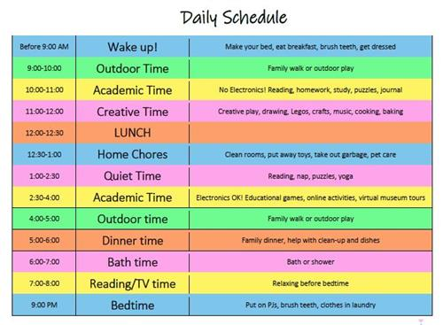 Suggested Daily Schedule