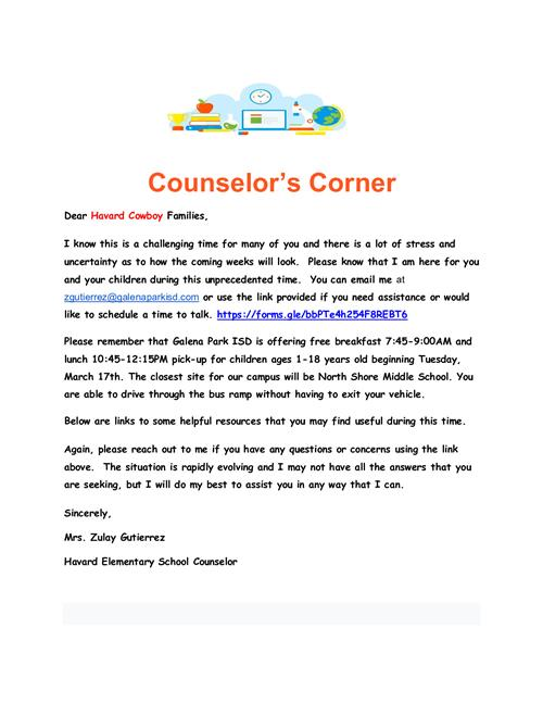 Counselor's Corner Flyer