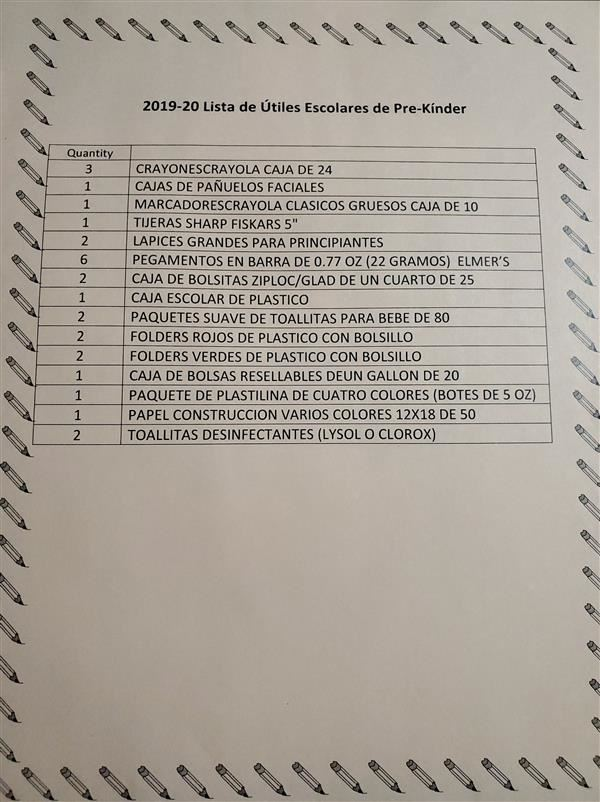 Pre-Kinder Bilingual Supply List 2019-2020