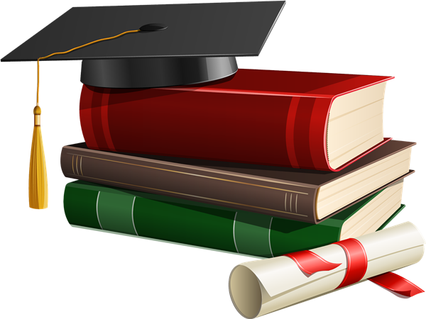 Graduation hat with books