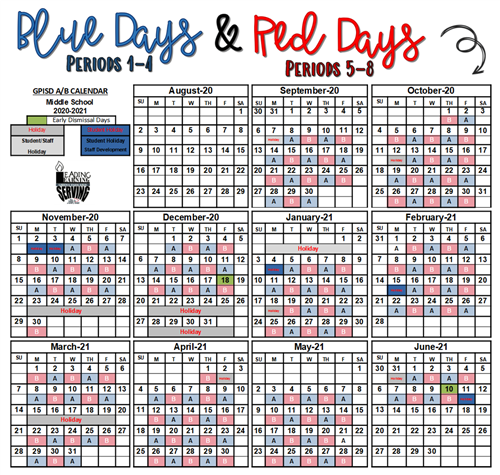 Blue and Red Day Calendar