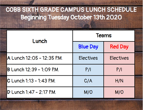 Cobb Lunch Schedule