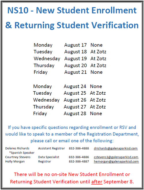 New Student Enrollment and Returning Student Verification Image