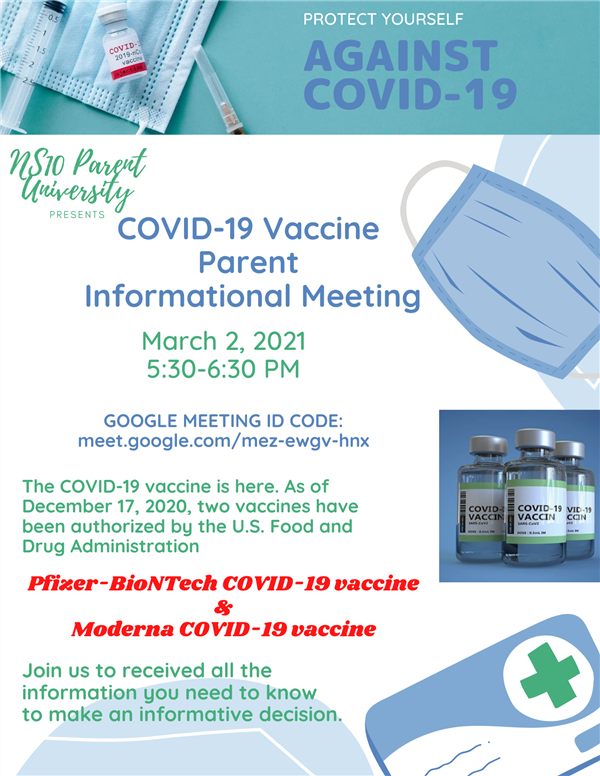 Counselors / COVID-19 Vaccine Parent Meeting