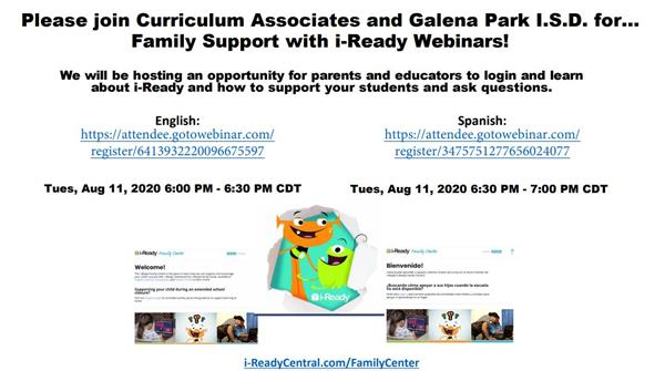 i-Ready Family Support Webinar - August 11, 2020