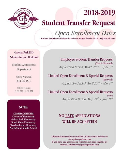 Student Transfer Request 2018-2019
